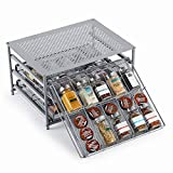 HEOMU Spice Rack Organizer for Cabinet, 3-Tier Metal Spice Organizers 30 Bottle Organizer with...
