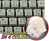 Spanish (Traditional) Keyboard Stickers with Blue Lettering ON Transparent Background