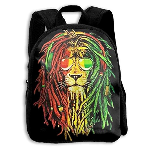 Rucksack,Jamaica Rasta Lion Sonnenglas Kinderrucksack, Premium Kindertaschen Für Kinder Klettern Reisen,27cm(W) x34cm(H)