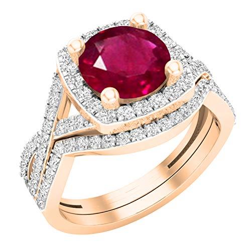 Dazzlingrock Collection - Juego de anillos de boda de 8 mm con piedras redondas y circonitas cúbicas blancas, con halo de vástago dividido, oro rosa de 18 quilates