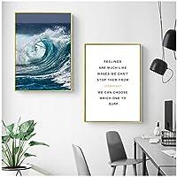 """風景ポスターと版画、海景キャンバス絵画壁の写真、リビングルームの家の装飾19.6"""" X 27.5""""(50x70cm)フレームなし2個"""