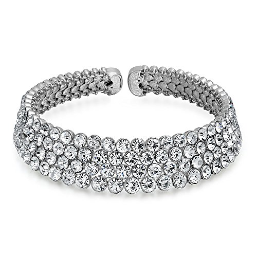 Bling Jewelry Bridal Wide 4 Row Crystal Fashion Statement Choker Necklace for Women for Teen for Prom Pageant for Wedding Adjustable