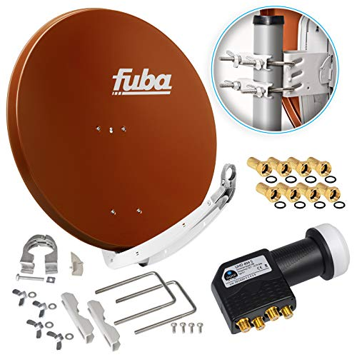 Fuba DAA 850 R 85cm Sat Schüssel Rot Satellitenantenne Aluminium Reflektor + HB-DIGITAL UHD Quad LNB 4 Teilnehmer Direktanschluss schwarz 4K Ultra HDTV Full HD 3D fähig + 8X F-Stecker vergoldet