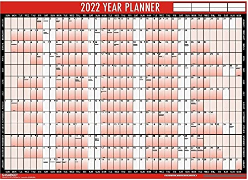 2022 Year Planner A1 Large Laminated Wall Calender 85cm x 58cm With Dry Wipe Marker Pen & Sticker Dots