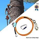 S SMAUTOP Cuerda de seguridad al aire libre, con ajustador de mosquetón de triple bloqueo,estiramiento bajo para protección contra caídas, arbolista, trepadores de árboles (12 mm * 3 m)