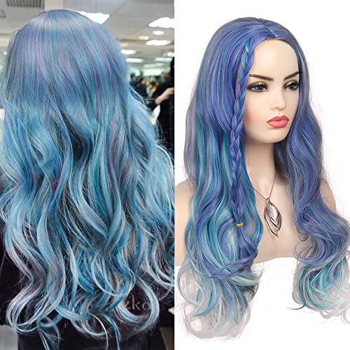 Baruisi Long Curly Wavy Colorful Wig Synthetic Middle Part Braid Multicolor Costume Wigs for Women,Mixed Violet Blue Green Light Gray