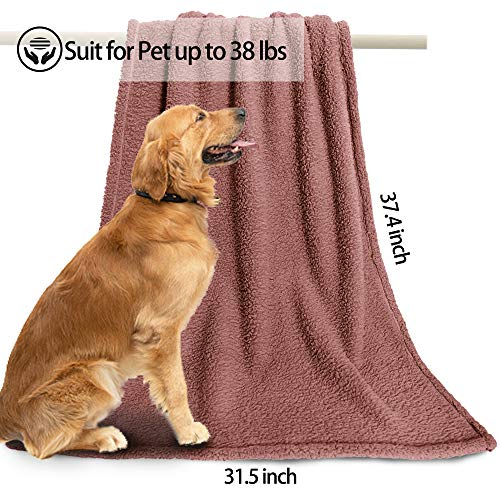 Comsmart Dog Blanket, Pet Puppy Blanket Cotton Fluffy Soft Throw Blanket Kitten Mat Pad Bed Cover for Dogs, Cats, Animals -37.4 x 31.5 inches (Brown)
