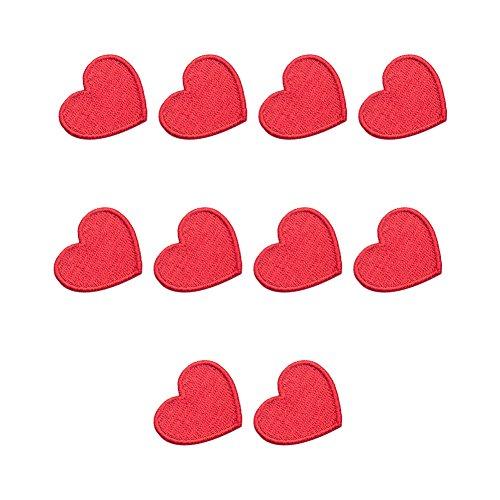 XUNHUI Rote Herz-Aufnäher gestickte Flicken Bügelbilder für Kleidung zum Aufbügeln oder Aufnähen 10 Stück
