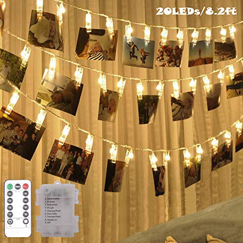 20 LED Photo Clip Fairy String Light,Indoor Outdoor Battery Box Powered,Remote,8 Modes,Timer,Valentine's Day Gift for Hanging Picture,Card,Artwork,Memos in Dorm,Bedroom,Wall Decoration (Warm White)