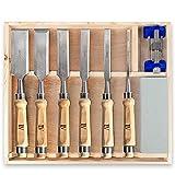 TILAVI® Stemmeisen / 6 tlg. Stechbeitel set mit Aufbewahrungskiste aus Holz. inkl. Schleifset für das einfache schleifen danach