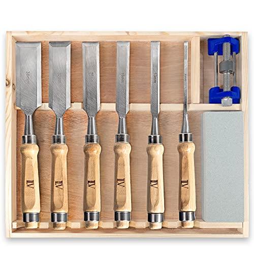 TILAVI® Juego de formones de carpintero (6 piezas, con caja de madera, incluye juego de lija)