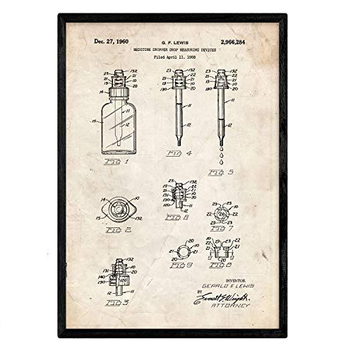 Nacnic Poster con patente de Bote con cuentagotas. Lámina con diseño de patente antigua en tamaño A3 y con fondo vintage