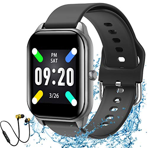 Reloj Inteligente Mujer y Hombre Pulsera Actividad Fitness Tracker Podómetro Monitor de Sueño Contador 1.4 Inch Bluetooth Smartwatch Rastreador de Actividad con para Android y iOS (Negro)