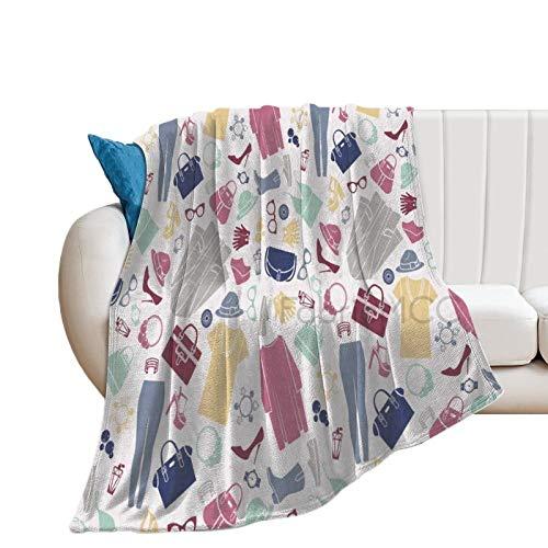 Koc polarowy do dekoracji sypialni 152 x 203 cm, modny płaski design z koszulką bluzką kapelusz wysokie obcasy torby na ręce i okulary - puszysty ciepły przytulny miękki koc, pluszowy koc z mikrofibry