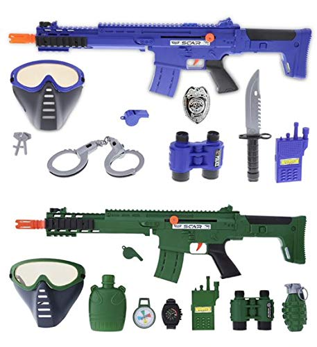 Mozlly Police Officer & Soldier Role Play Kit Toys for Kids - Each Kit Includes 9 Piece Pack, Dress Up with Special Forces or Police Costume Accessories for Pretend Play & Costume Parties - Set of 2