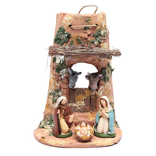 Holy Family Statues on Shingle in Terracotta from Deruta 23 cm
