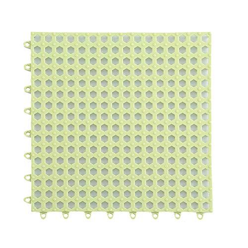 Creativee 4 tappetini da doccia modulari ad incastro 30 x 30 cm, antiscivolo per piastrelle, tappetino impermeabile, scarico piscina, doccia, bagno, cucina, casa, interno ed esterno (verde)