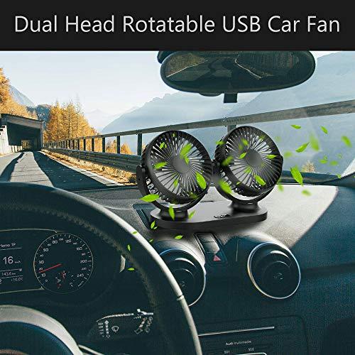 Ventilador USB Mini Ventilador Doble Cabeza 360/° Rotaci/ón Rotaci/ón Horizontal 180 /° 3 Velocidades Ventilador Portatil Adecuado para Coche//Mesa//Oficina//Camping//La Pesca