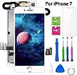 FLYLINKTECH Für iPhone 7 Display Weiß, Ersatz Für LCD Touchscreen Digitizer vormontiert mit Hörmuschel, Frontkamera Reparaturset Komplett Ersatz Bildschirm mit Werkzeuge