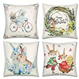 BOUNONT Set of 4 Decorative Easter Bunny Throw Pillow Covers - Truck Eggs Linen 18 x 18 Inches Pillow Cushion Case for Sofa Couch Bed Home Outdoor Car