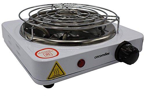 cocomiles ® Heater Kohleanzünder für Shisha Kohle 1000W Kohlenanzünder elektrisch weiß mit Gitter