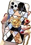 Aulzaju for iPhone 11 Pro Max Case Luxury Bling Glitter Sparkle Marble Hard Cover with Ring Kickstand Cute Diamond Rhinestone Beaded Lanyard Girls Women Phone Case for iPhone 11 Pro Max 6.5 Inch Black