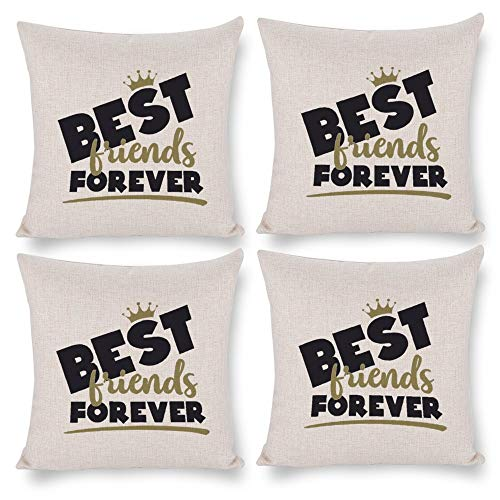 No branded Pack 4,Pillow Covers 18x18 Set of 4,Throw Pillow Cases Home Decor 4pcs Best Friends Forever Farmhouse Square Pillow Cushion Pillowcase for Sofa Bedroom Car Patio Chair Nursery