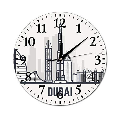Fhdang Decor Reloj de Pared de la Catedral de Barcelona, silencioso, Redondo, para decoración del hogar, Redondo, fácil de Leer, para el hogar, Oficina, Escuela, 10 Pulgadas