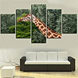 5 piezas jirafa lienzo pintura animal cartel bosque imágenes para la decoración de la habitación del hogar obras de arte modernas muebles modulares abstractos 100X50Cm sin marco