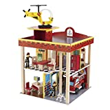 The wooden KidKraft Fire Station Set offers 360 degrees of imaginative play This playset includes 15 accessory pieces; Bendable figures Sturdy wood construction; Materials: wood, MDF, fabric, rubber A helicopter awaits on the roof and the set even in...
