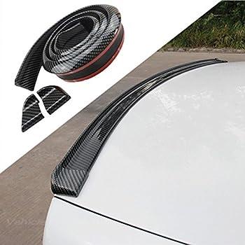 COOL·CAR 4.9ft  150cm  Universal Black Carbon Fiber Trunk Spoiler Lip Kit Car Rear Spoiler Exterior Rear Spoiler Kit Universal Fits for Most Cars Punch-Free Installation  Carbon Black long150cm