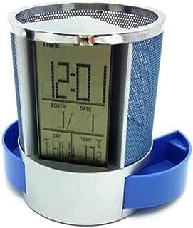 DKX Pen Holder, Creative Fashion Stationery, Desktop Decoration Storage Pen Holder, Electronic Clock Office Student Pen Holder (Color : Blue)