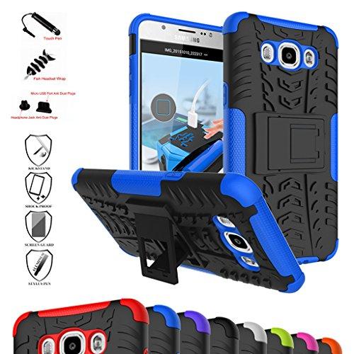 MAMA MOUTH Galaxy J7 2016 Funda, Heavy Duty Silicona híbrida con Soporte Cáscara de Cubierta Protectora de Doble Capa Funda Caso para Samsung Galaxy J7 J710 2016 Smartphone,Azul