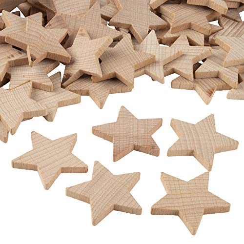 Wood Stars for Crafts, Star Cutouts (1.5 in, 100-Pack)