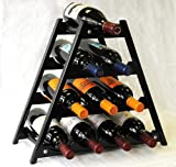 sfDisplay.com, Factory Direct Display Cases Wine Rack Wood -10 Bottles Hardwood Stand -Black