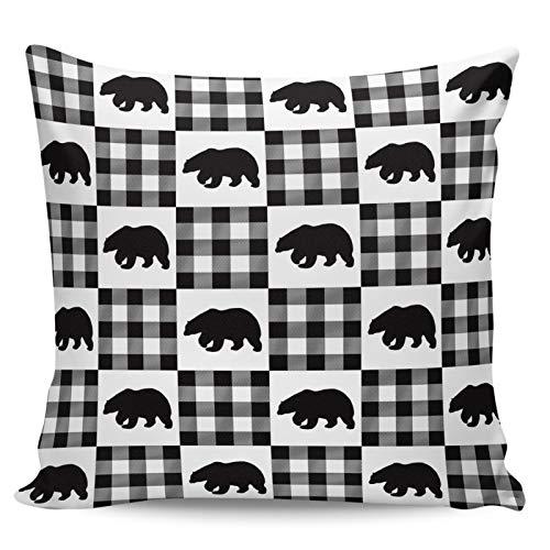 Scrummy Fundas de almohada de 50,8 x 50,8 cm, diseño de oso polar de invierno, color blanco y negro