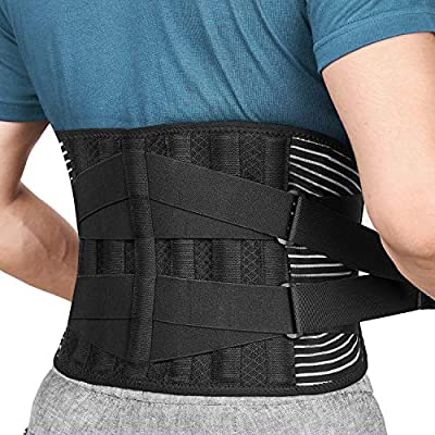FREETOO Back Braces for Lower Back Pain Relief with 6 Stays, Breathable Back Support Belt for Men/Women for work , Anti-skid lumbar support belt with 16-hole Mesh for sciatica(L) by Freetoo