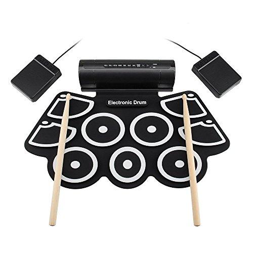 LBWLB Elektronisch drumstelset, 9 pads, draagbare roll up tabletop E-drum, inclusief drum, voetpedaal, drumstick, geschikt voor beginners, kinderen en drummen, creatieve verjaardagscadeaus