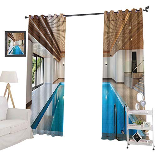 """YUAZHOQI Room Darkening Window Treatment Drape Apartment with Indoor Pool Wooden Ceiling Private Residence Stylish Home Perspec, Curtain Panels for Kid Room 52"""" x 72"""", Blue"""