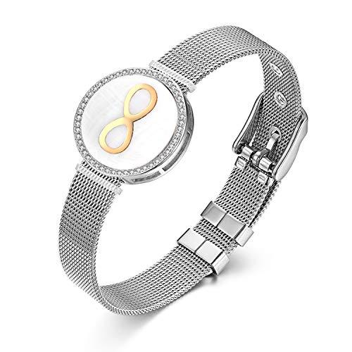 Flongo Damen Armband Herren Armreif, Edelstahl Armband Infinity Unendlichkeitszeichen mit Zirkonia Mesh Band Kette Armkette Silber Verstellbar