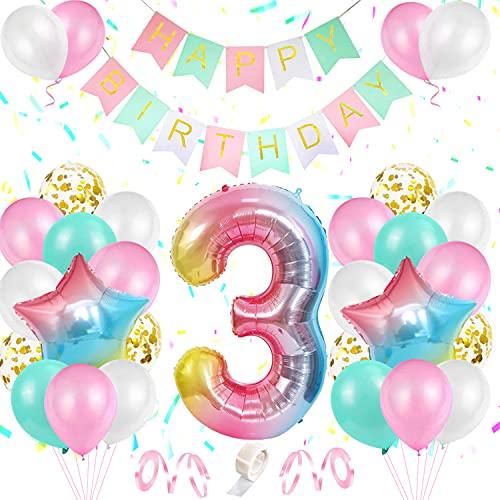 3 Anno Decorazione di Compleanno , Palloncino Numero 3 Anni Compleanno Decorazioni Arcobaleno Rosa Ragazza, Palloncini in lattice di coriandoli rosa bianco blu oro, Buon compleanno Banner e nastri
