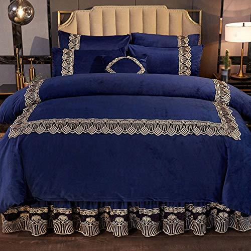 CQL Bed Rok Dikke Kristal Velvet Gewatteerd Geborduurd Beddengoed Dikke Warm Niet krimpen Dubbele Rits Slaapkamer 1.8 M (70.8 Inches) Bed