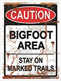 ZMKDLL Caution Bigfoot Area Stay On Marked Trails Hiking Camping Tin Metal Sign 9 X 12
