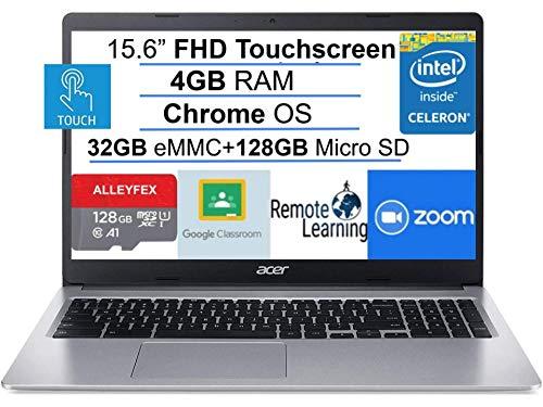 2021 Newest Acer Chromebook 15.6' FHD IPS Touchscreen Laptop, Intel Celeron N4000(up to 2.6GHz), 4GB RAM, 160GB Space(32GB eMMC+128GB Micro SD), Bluetooth, USB-C, Webcam, WiFi, Chrome OS+AllyFlex MP