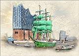Poster 40 x 30 cm: Hamburg Elbphilharmonie mit dem