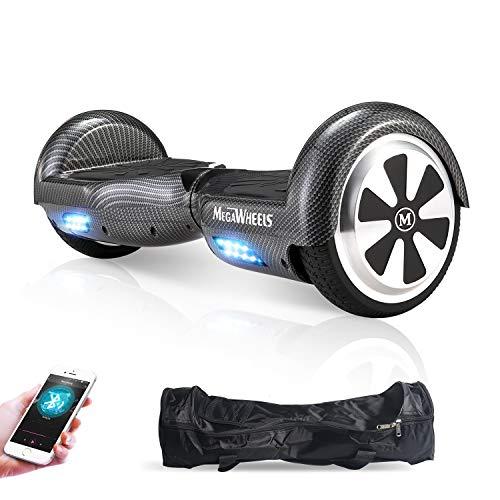 M MEGAWHEELS Scooter-Patinete Eléctrico Hoverboard, 6.5 Pulgadas con Bluetooth - Motor eléctrico 500w, Velocidad 10-12 Km/h. (Carbon Black)