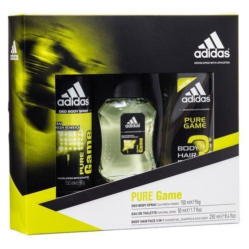 adidas Pure Game body spray, spray, gel de ducha y Trio Set de regalo