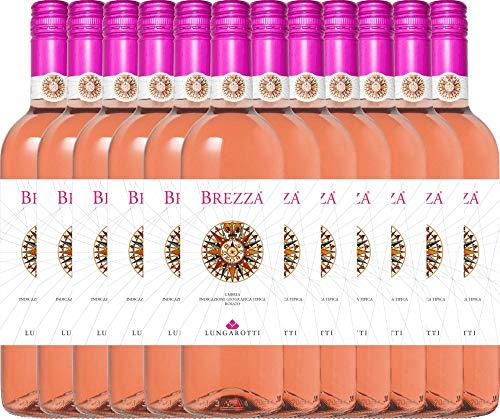VINELLO 12er Weinpaket Rosé - Brezza Rosa 2020 - Lungarotti mit Weinausgießer | trockener Roséwein | italienischer Sommerwein aus Umbrien | 12 x 0,75 Liter