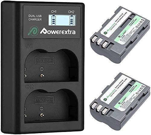 Powerextra Batería de Repuesto Nikon EN-EL3E 2200mAh con Cargador Inteligente Pantalla LCD Nikon EN-EL3 D30 D50 D70 D70S D80 D90 D100 D200 D300 D300S D700