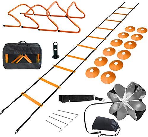Set di Agilità velocità Allenamento, cinesini per allenamento, 4 ostacoli per allenamento, 6M Scaletta, 1 paracadute di resistenza, 2 resistance bands e coni sportivi, per Allenamento velocità Calcio